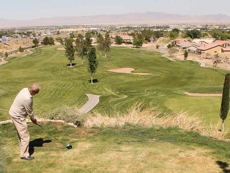Enjoy 18 holes of golf at Cerbat Cliffs Golf Course in Kingman, AZ..  A view from the 5th fairway tee.