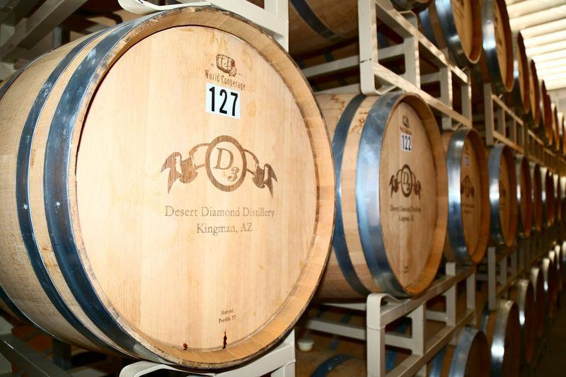 Desert Diamond Distillery oak barrels