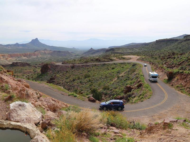 Oatman Hwy in bloom with cars near Shaffer's Fish Bowl